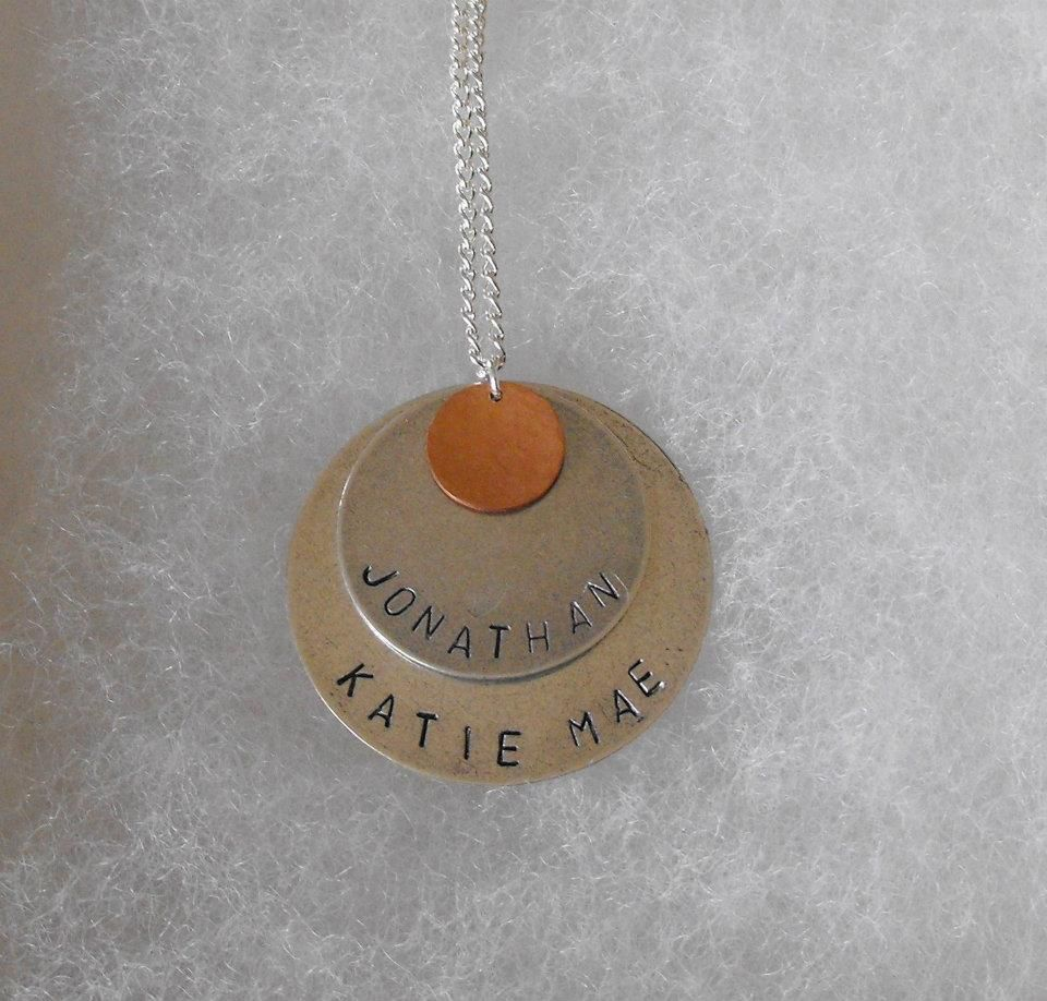 Stamped Silver Plated Discs with a Hammered Copper Disc