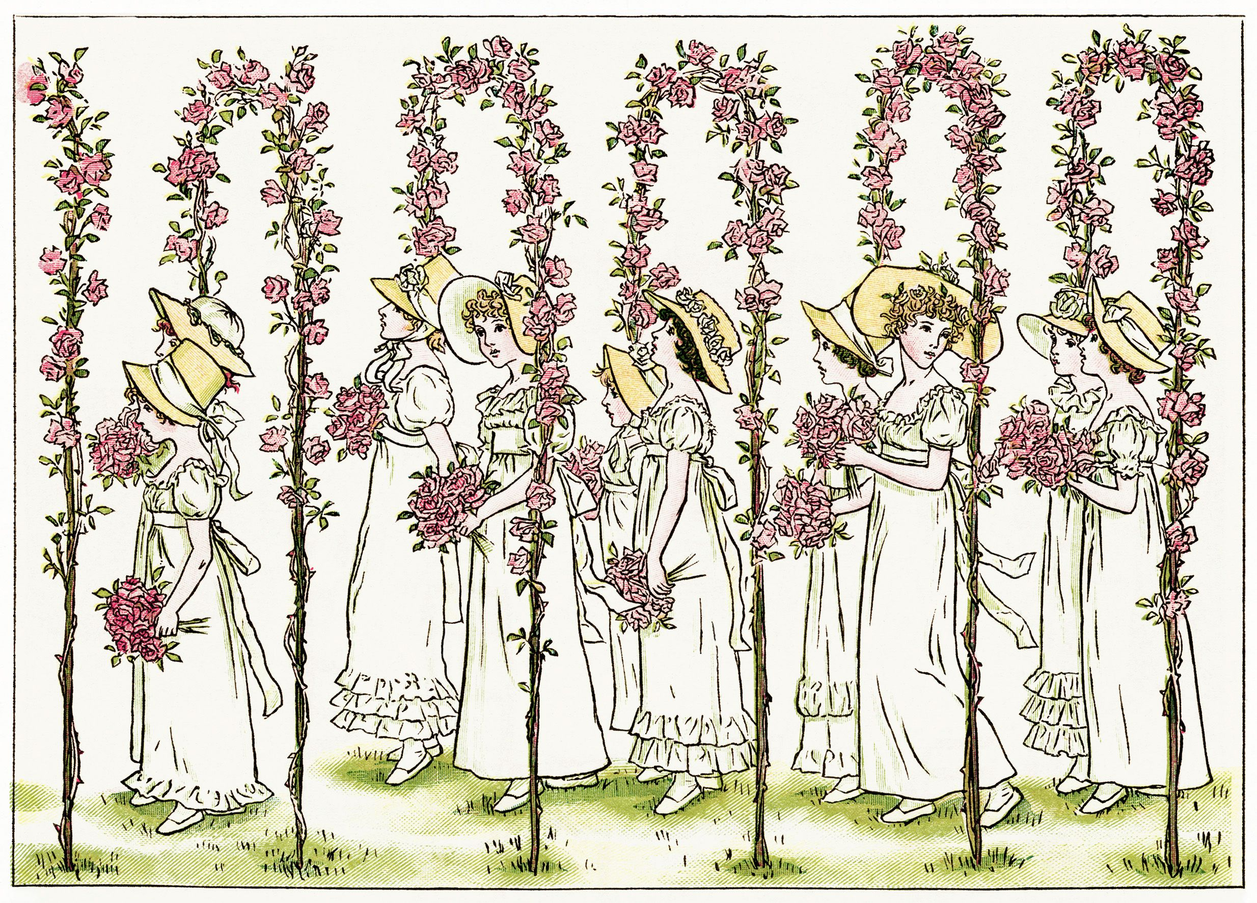 free clipart wedding, Kate Greenaway, Marigold Garden, old ...