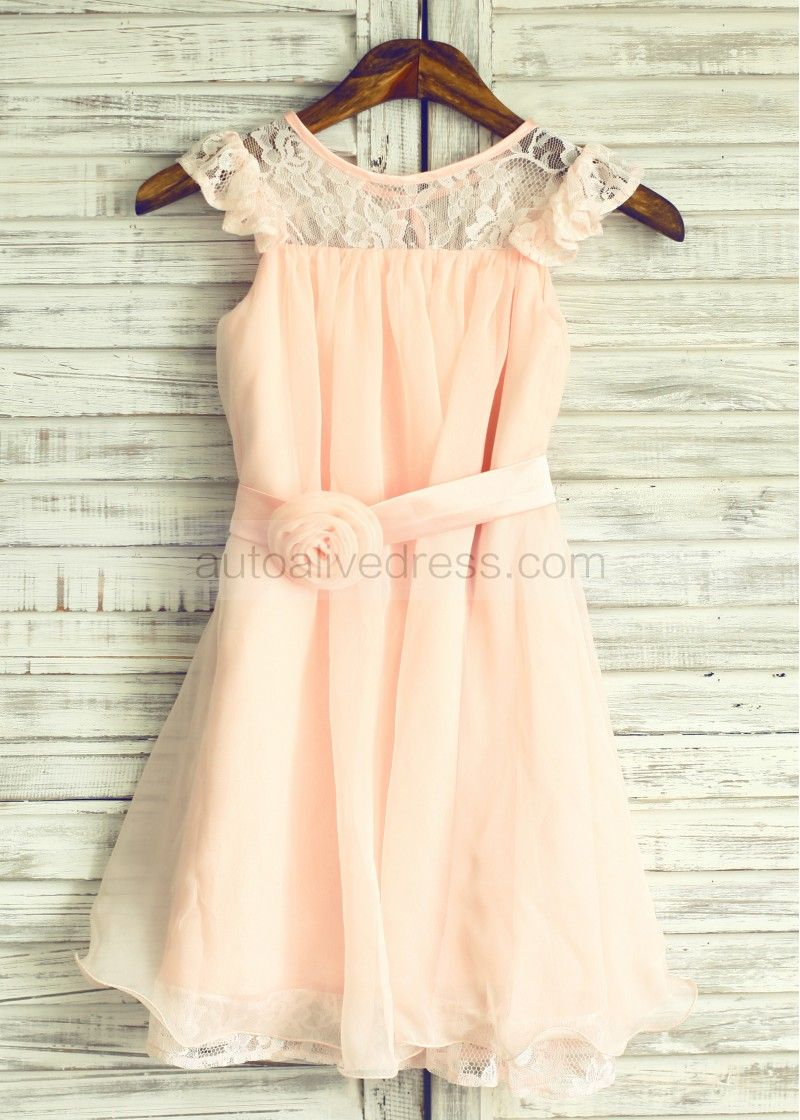 a385470dc50d Blush Pink Lace Chiffon Knee Length Flower Girl Dress
