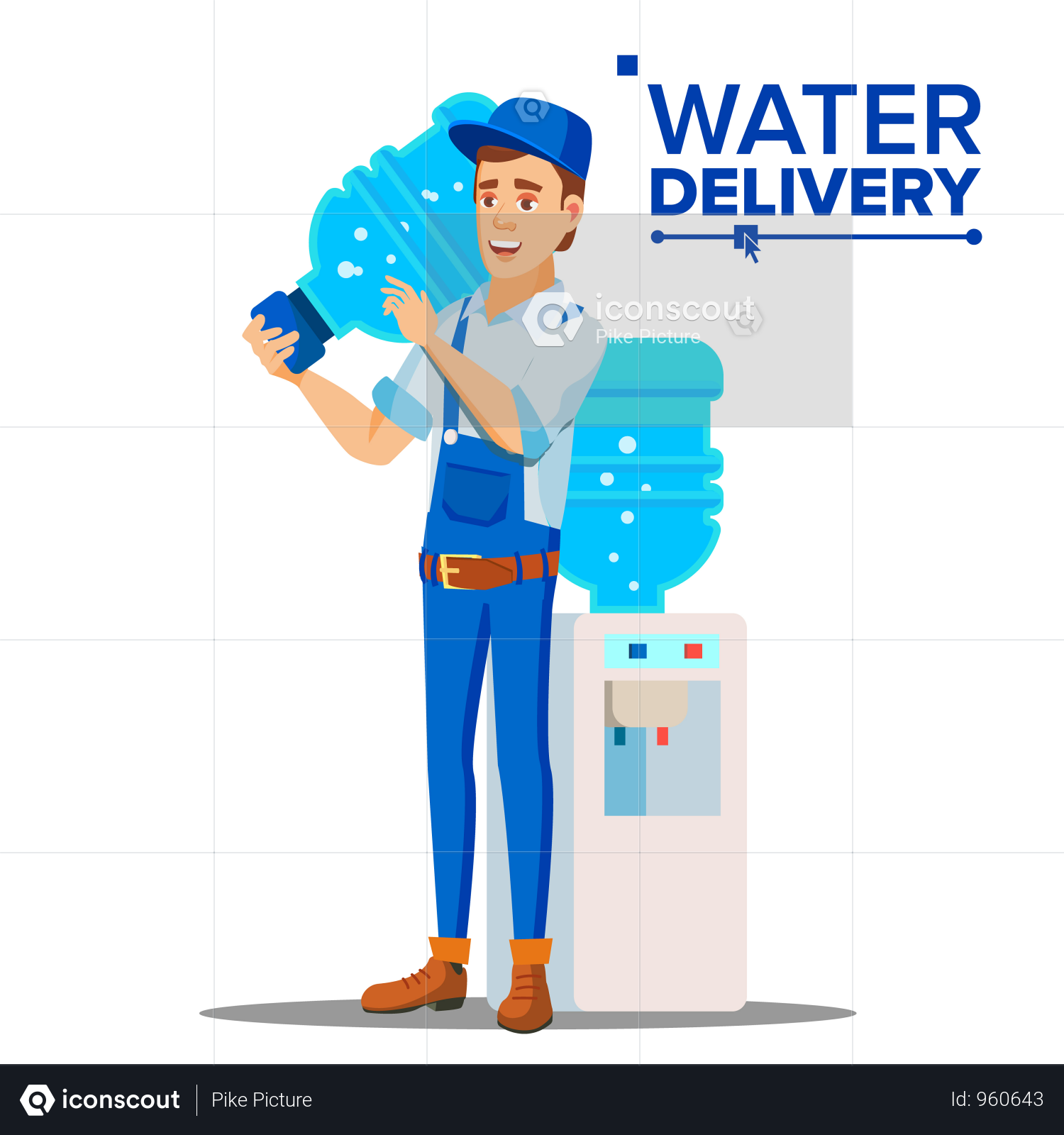 Premium Water Delivery Service Man Vector Illustration Download In Png Vector Format In 2020 Water Delivery Service Water Delivery Man Vector