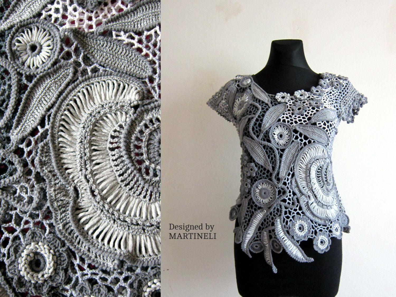 M/LGray Crochet Top Freeform Crochet Lace Blouse Top Irish Crochet ...