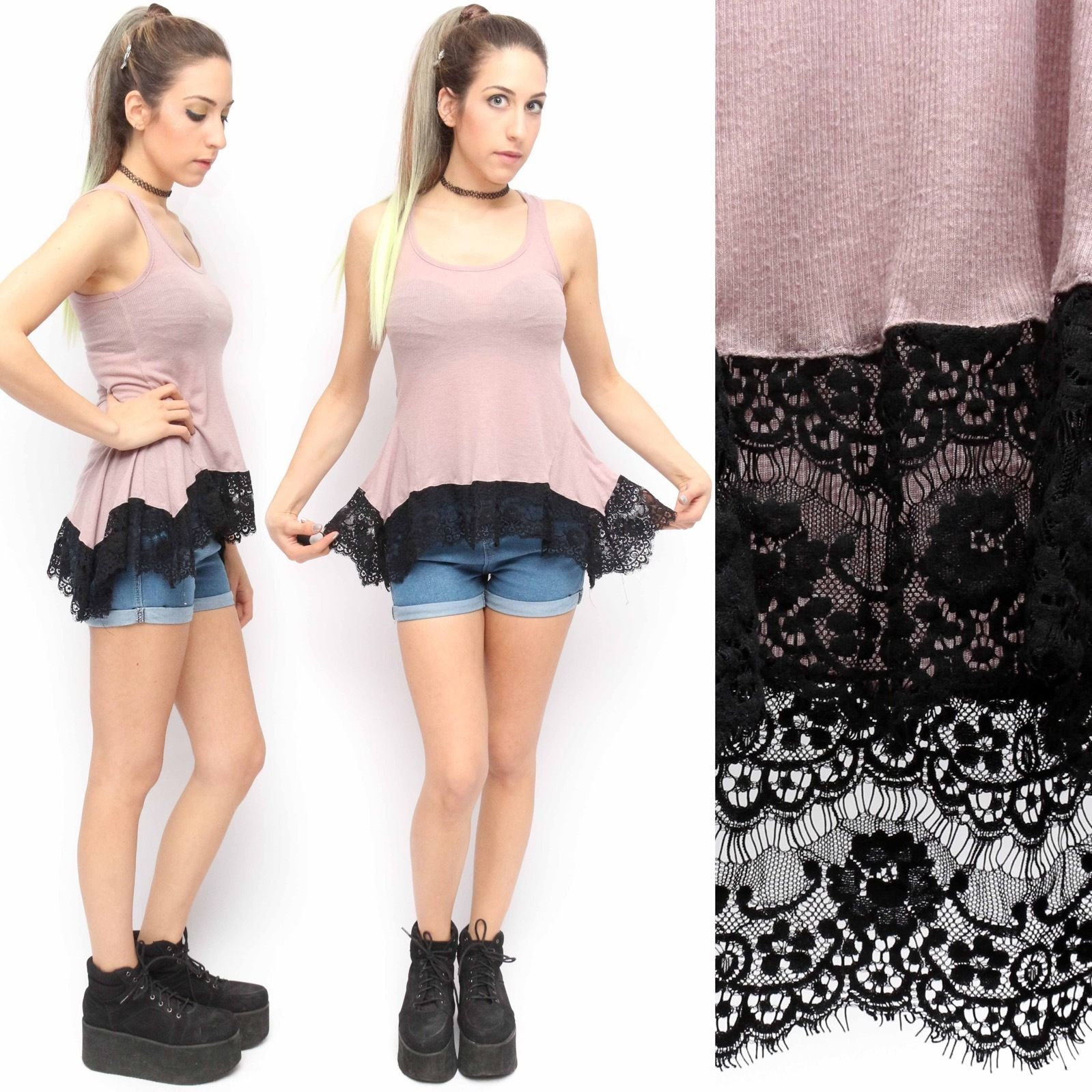 Forever 21 Blush Pink Gothic Lolita Grunge Black Lace Peplum Bustle Tank | eBay