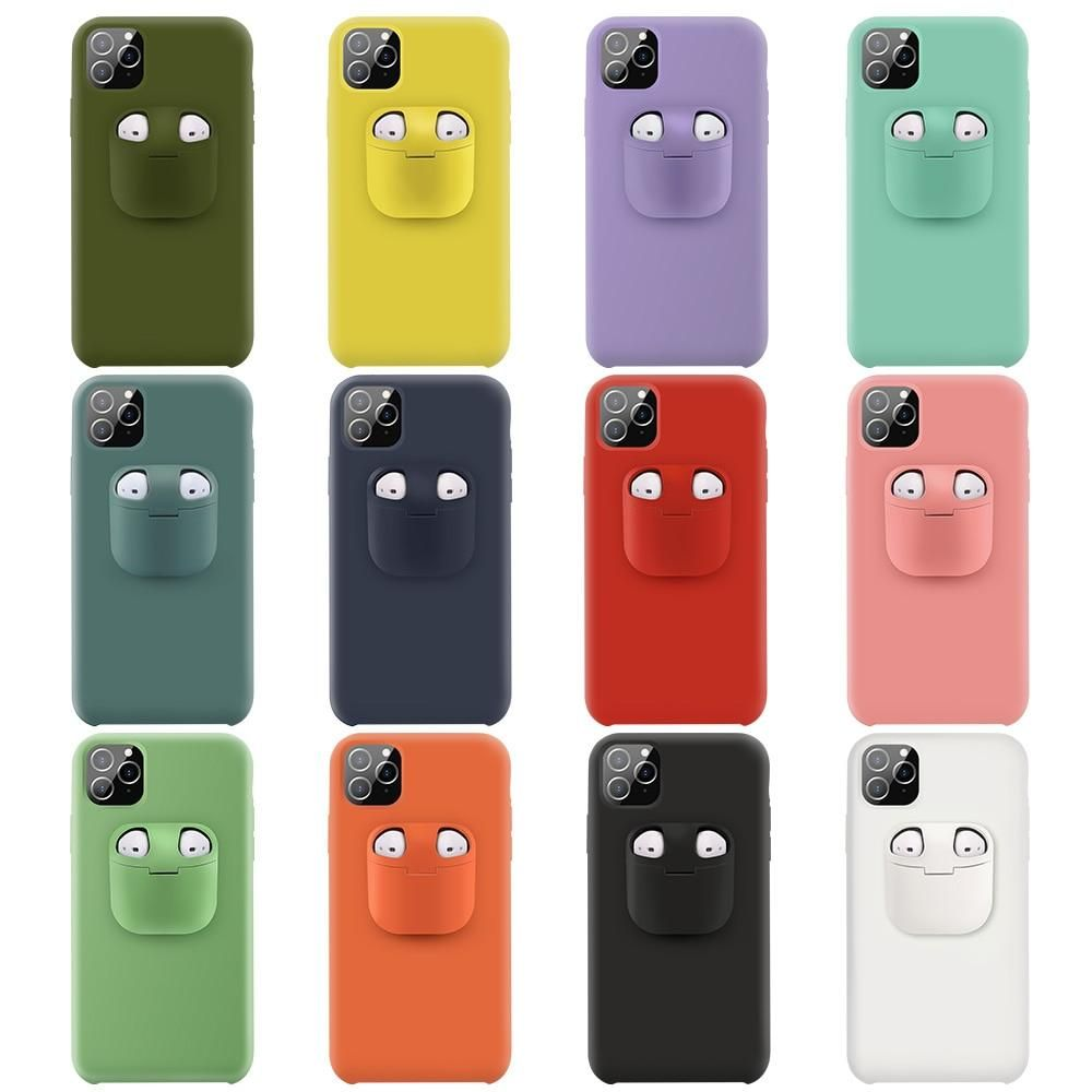 2 In1 Silicone Phone Case For Iphone And Airpods Holder Case In