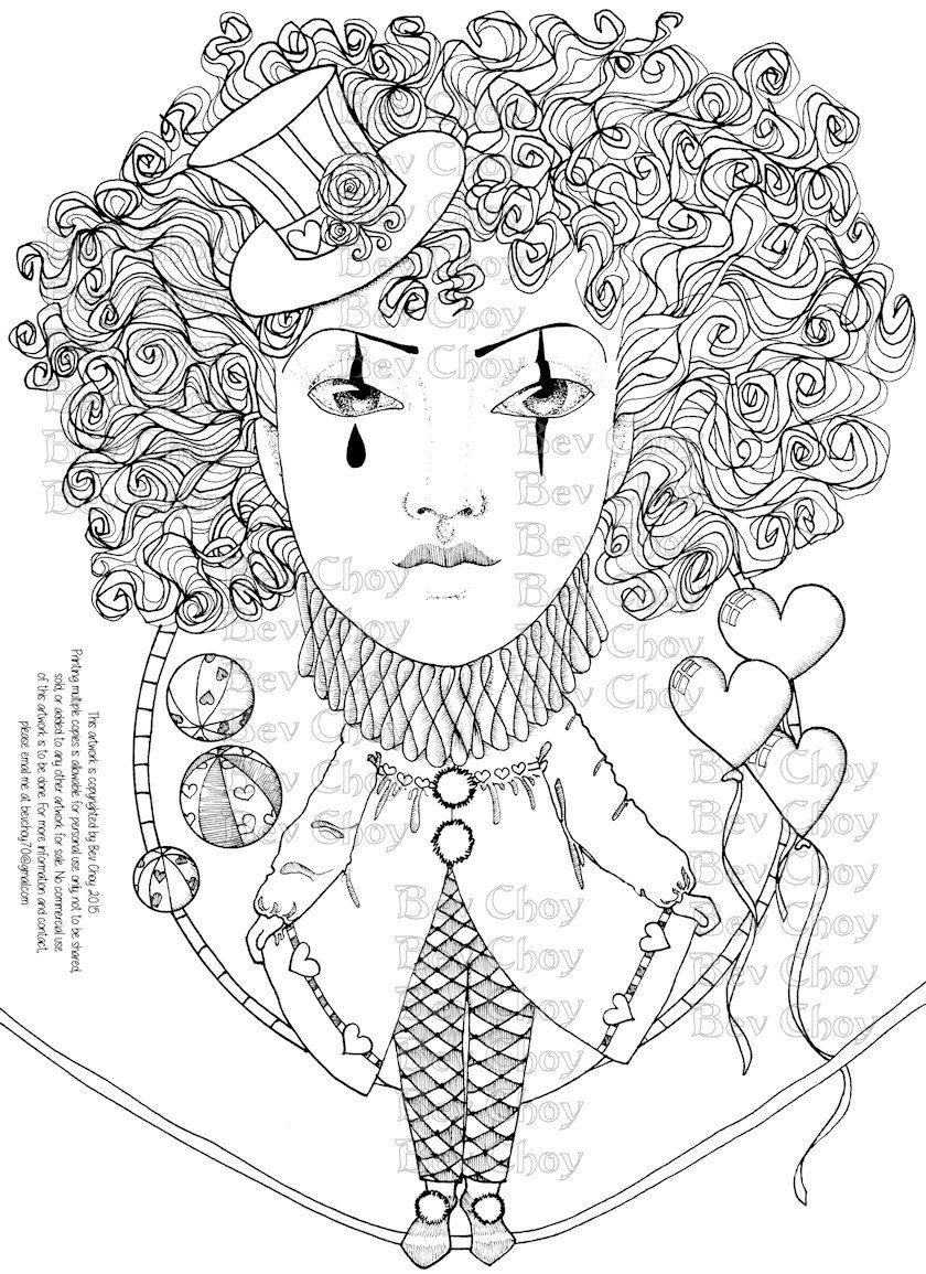coloring page harlequin by bevchoyart on etsy my doodles