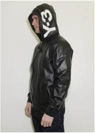 Y3 Yohji Yamamoto For Adidas Leather Jacket With Hood Hoodies Men Jackets