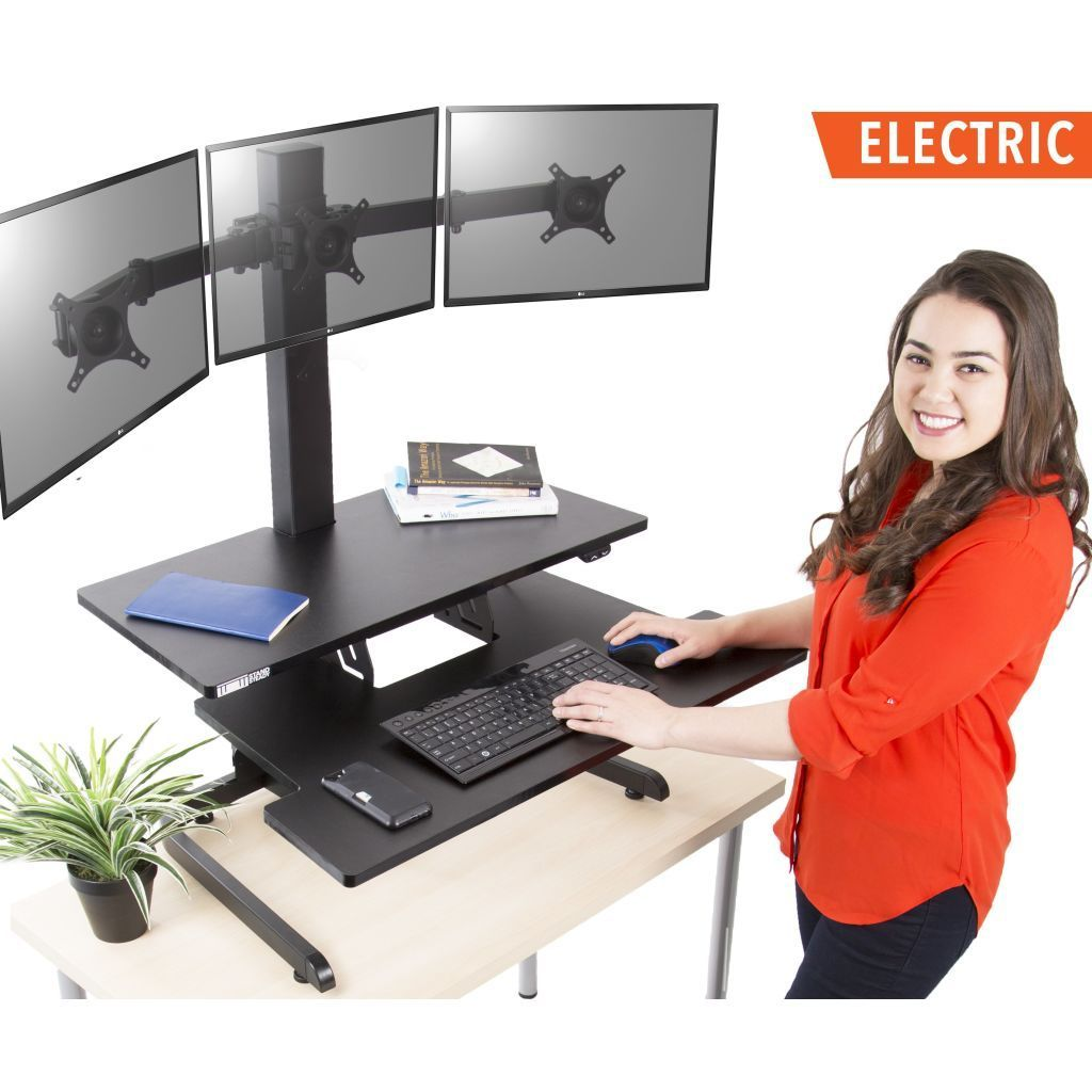 Techtonic Electric Triple Monitor Mount Standing Desk Converter Standing Desk Converter Stand Steady Stand Up Desk