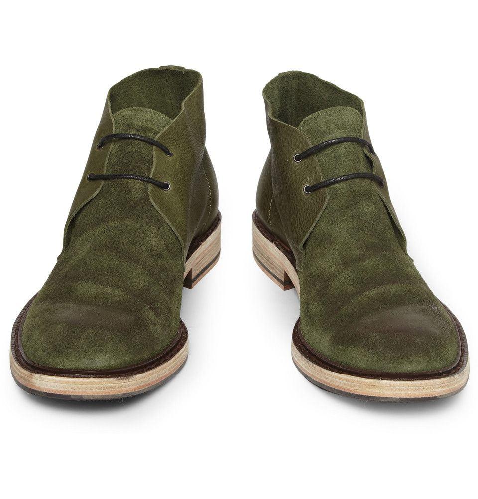 Acne Pedro Burnished Leather and Suede Desert Boots Herre  Mens