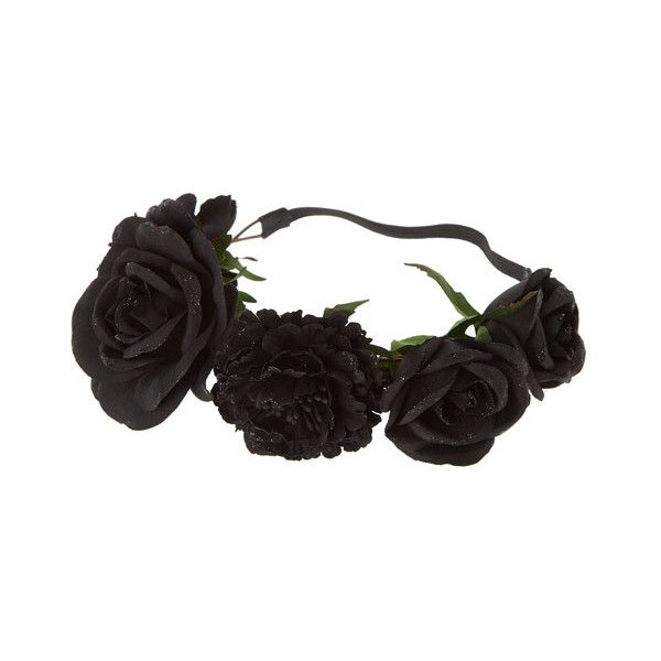 Black Glitter Roses Flower Crown (46 BRL) ❤ liked on Polyvore featuring accessories, hair accessories, floral garland, flower crown headband, rose flower crown, headband hair accessories and thin headbands