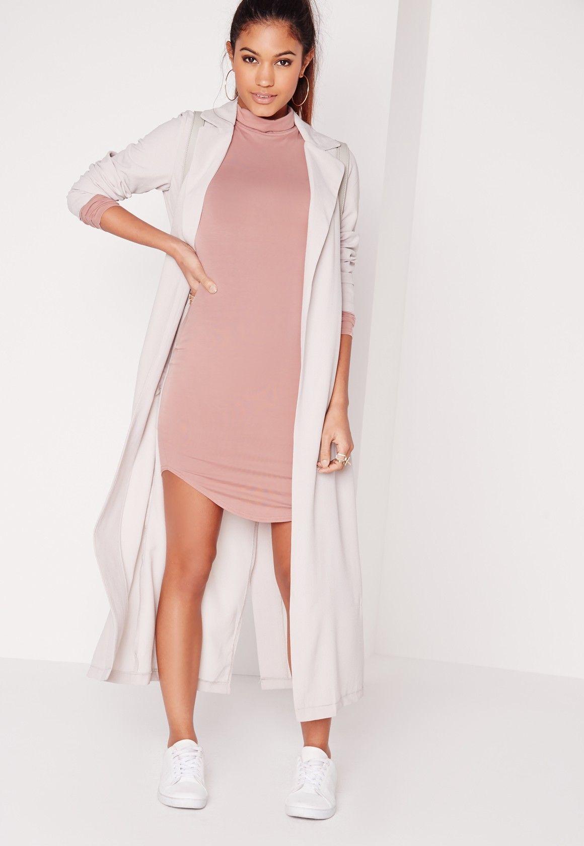 2a399a8186f90 Tall Curve Hem Roll Neck Bodycon Dress Pink   My dressing ...