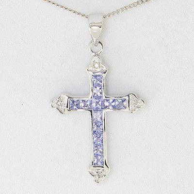 "NEW 9ct Gold 0.72ct Tanzanite /& Diamond Cross Necklace 16/"" GEM CARD {LG109}"
