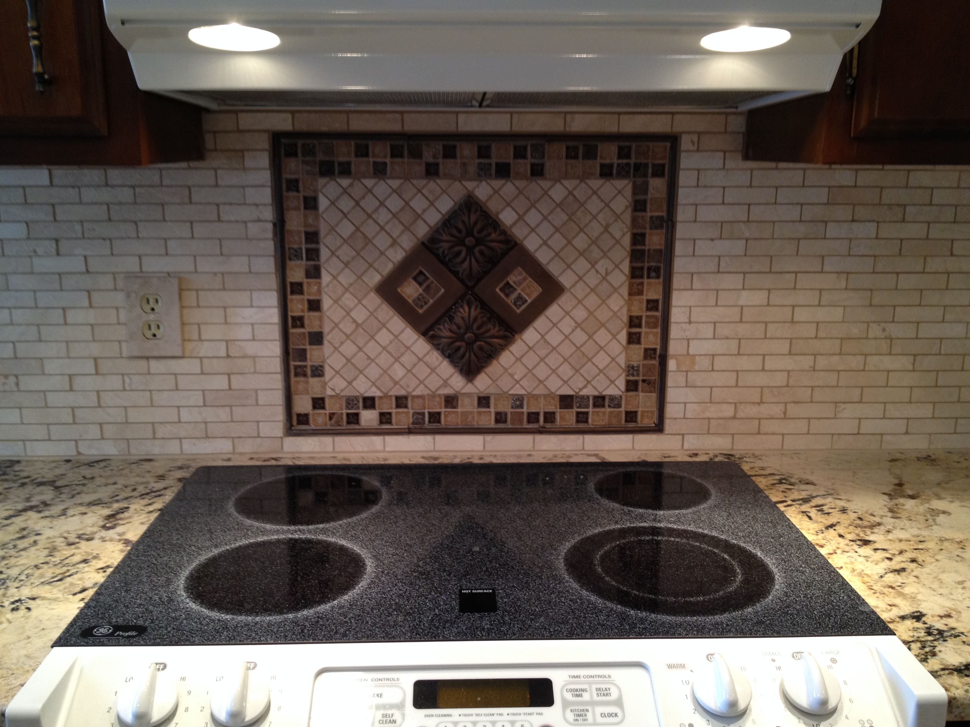 - Decorative Accent Above Stove, On Kitchen Backsplash, Grouted With