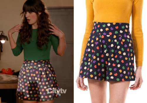 4608bb82c Jess wore these multi-colored polka dot high-waisted shorts with a ...