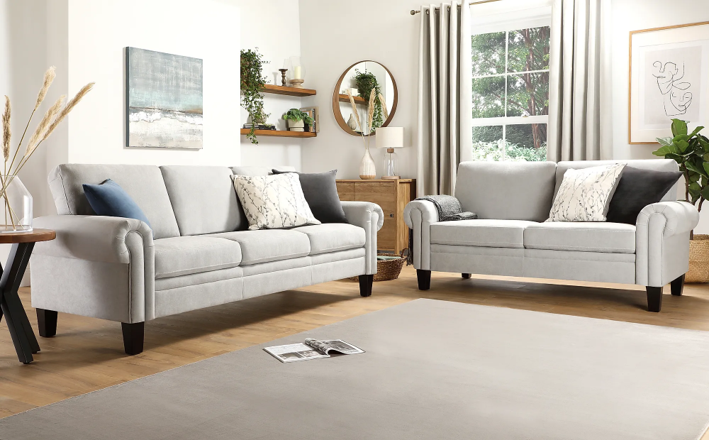 Oakley Dove Grey Plush Fabric 3 2 Seater Sofa Set Furniture Choice In 2020 Sofa Set Furniture Choice Sofa