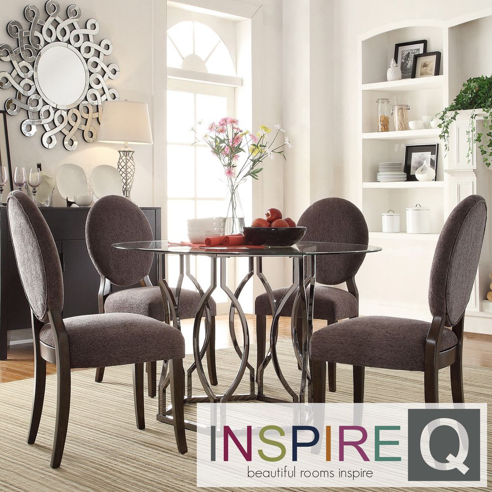 INSPIRE Q Concord 5-piece Black Nickel Plated Round Back Dining Set |  Overstock.