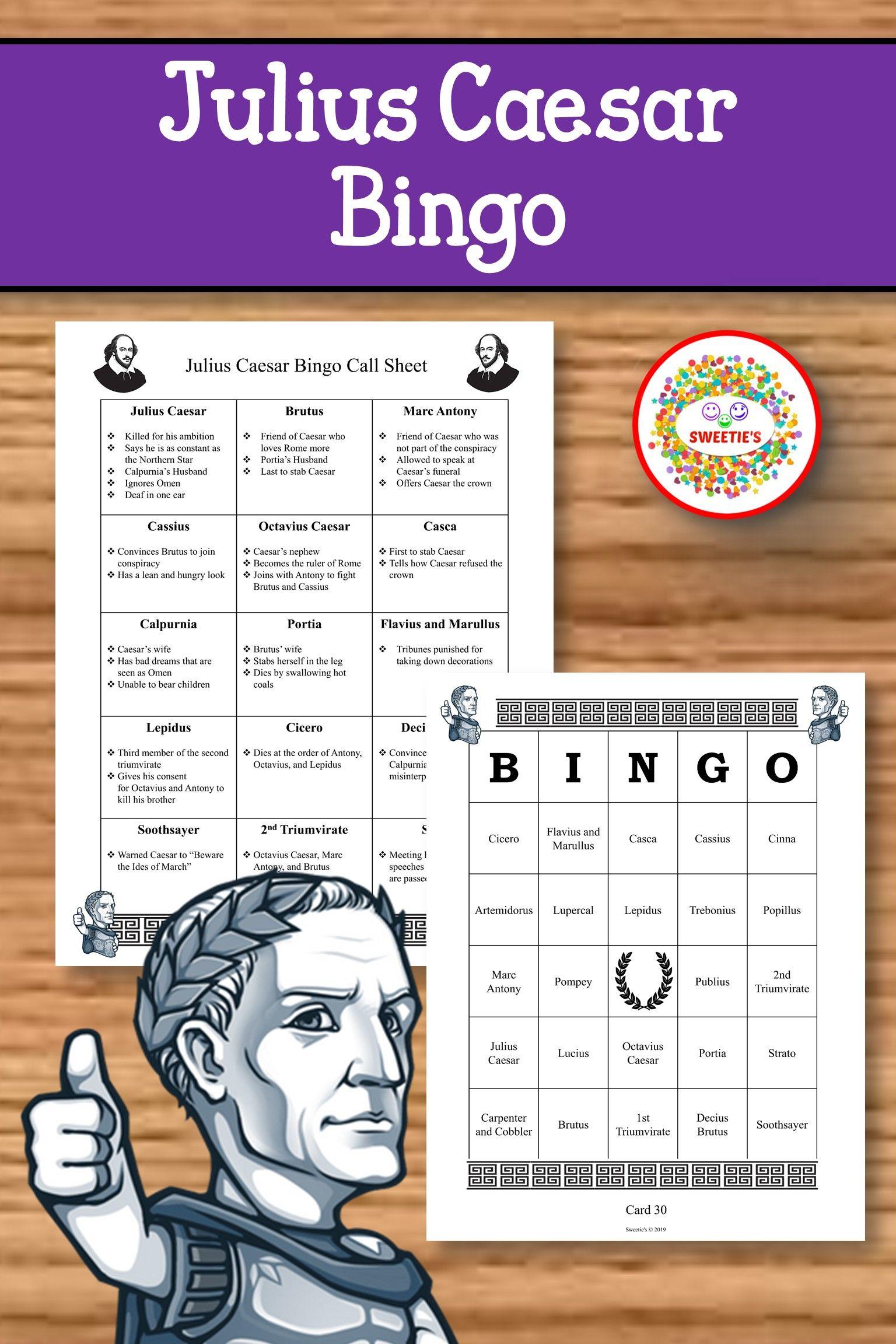 Julius Caesar Bingo Game Julius Caesar Lesson Plans Julius Caesar Elementary Learning