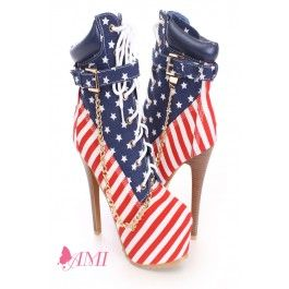 American Flag Lace Up Platform Booties Canvas