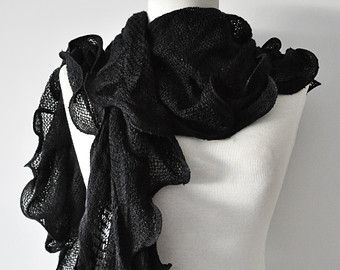 Ruffled Knitt Scarf, Black Ruffle Scarf, Knit Scarf, Ruffle Scarf, Black Crochet scarf, Elegant scarf,Fashion, Gift for christmas,1112