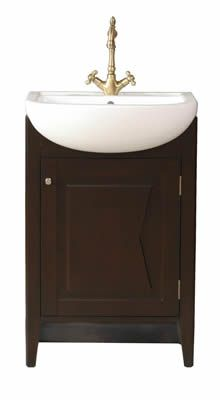 Compact Bathroom Vanity | Small Contemporary Single Sink Vanity (23 Inch)  With Dark Brown .