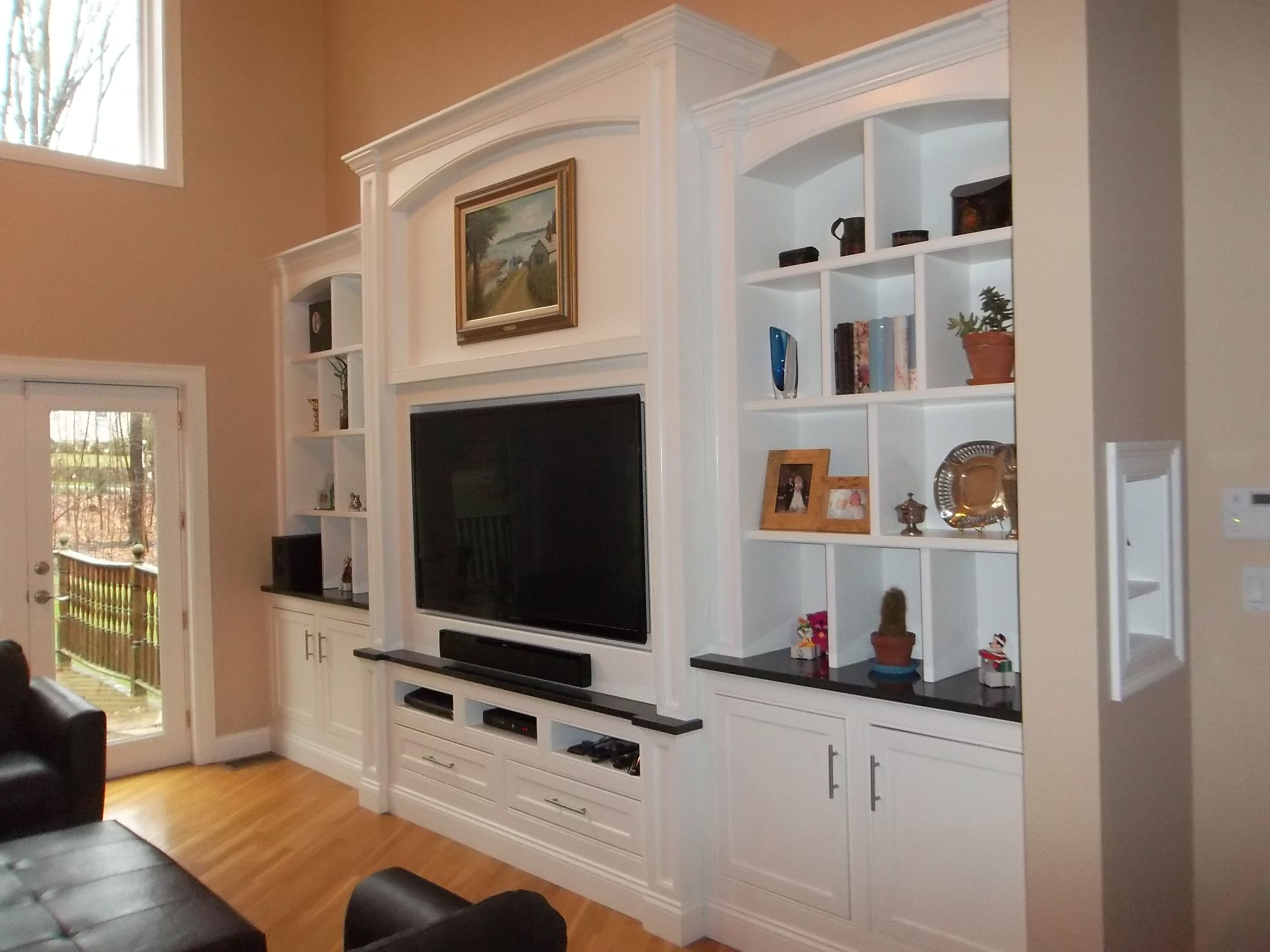 fetching sheetrock entertainment center. This custom TV entertainment center has 65 on fully articulating  telescoping mount to The Best 100 Cosy Drywall Entertainment Centers Image Collections