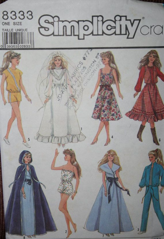 Barbie Simplicity Pattern # 8333 | Simplicity patterns, Barbie ...