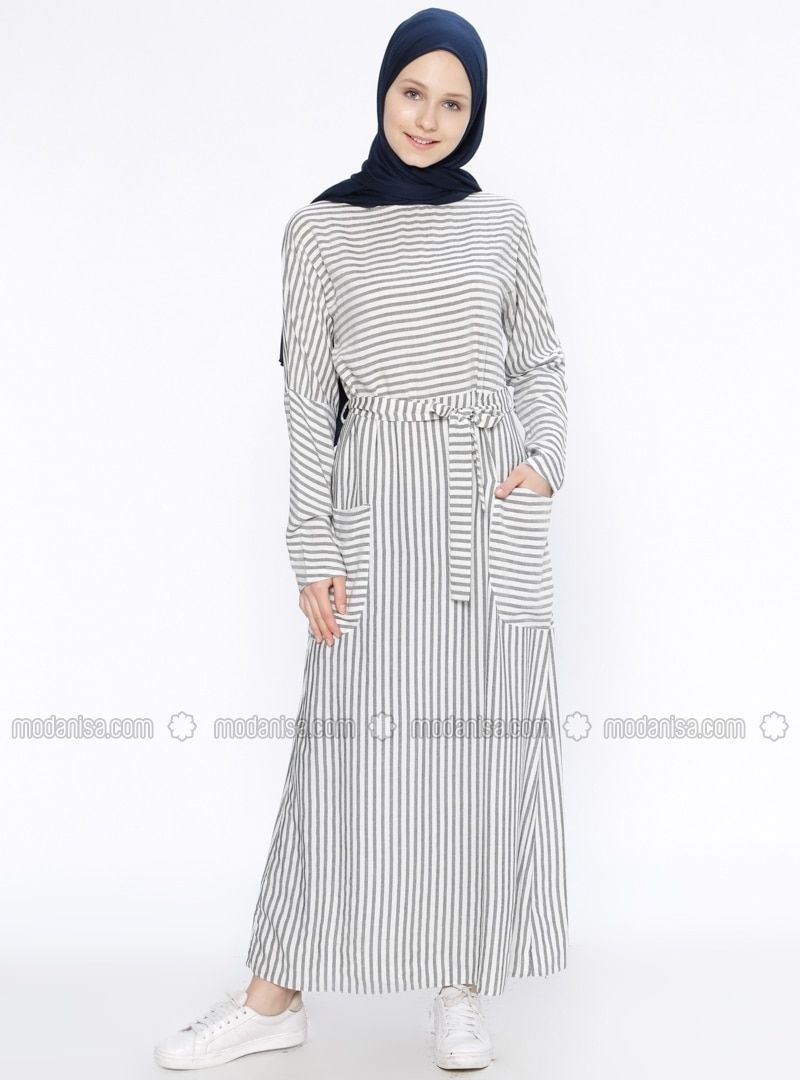 14f7998558086 Black - Stripe - Crew neck - Unlined - Dresses - Beha Tesettür | My ...