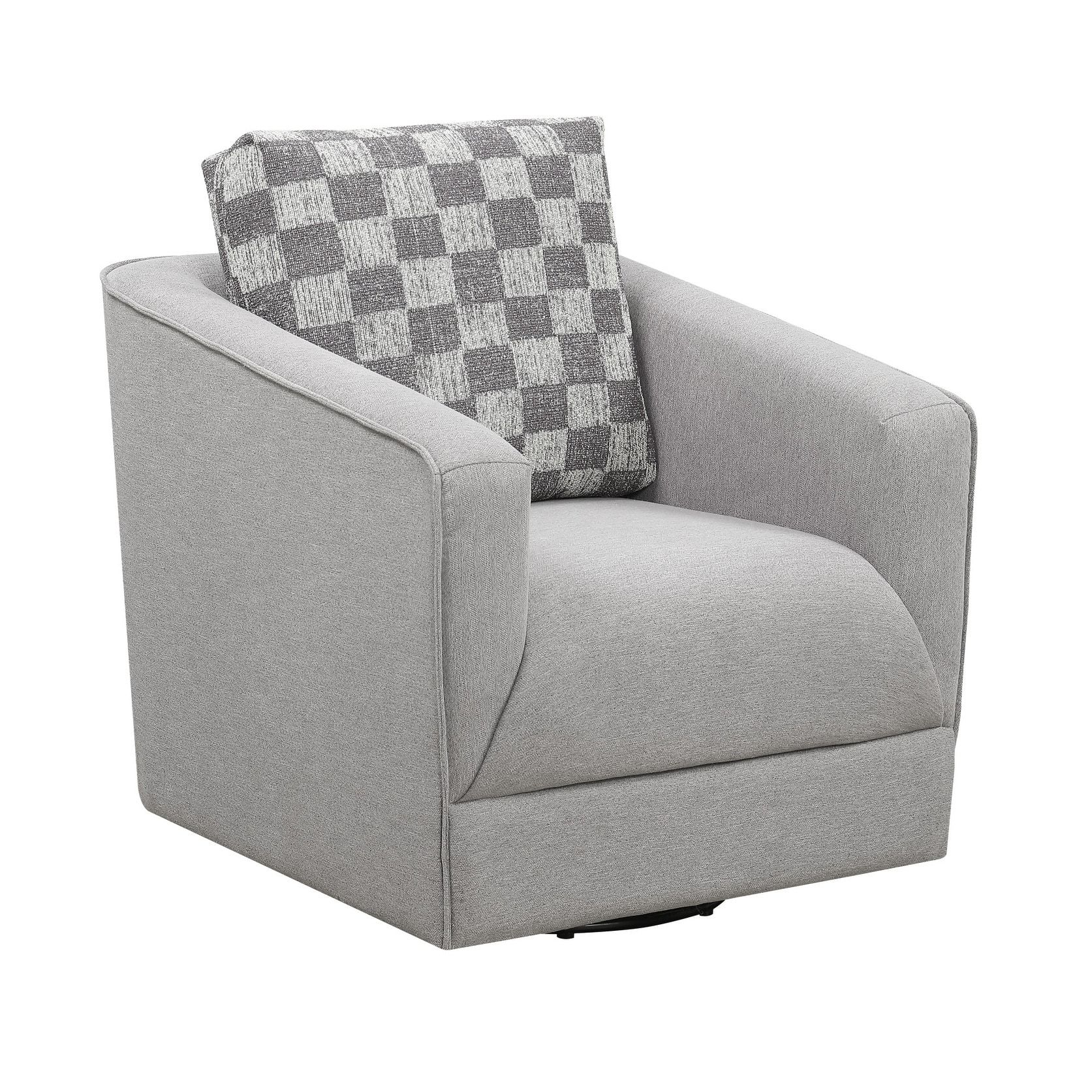 Best Emerald Home Adler Pewter And Charcoal Swivel Accent Chair 400 x 300