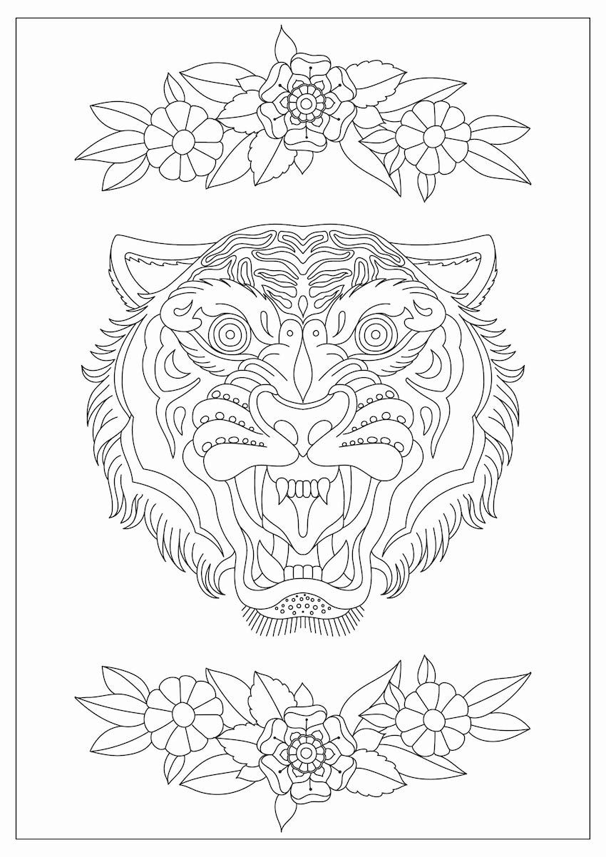 Fierce Tiger Face Coloring Page | coloring pages | Pinterest | Tiger ...