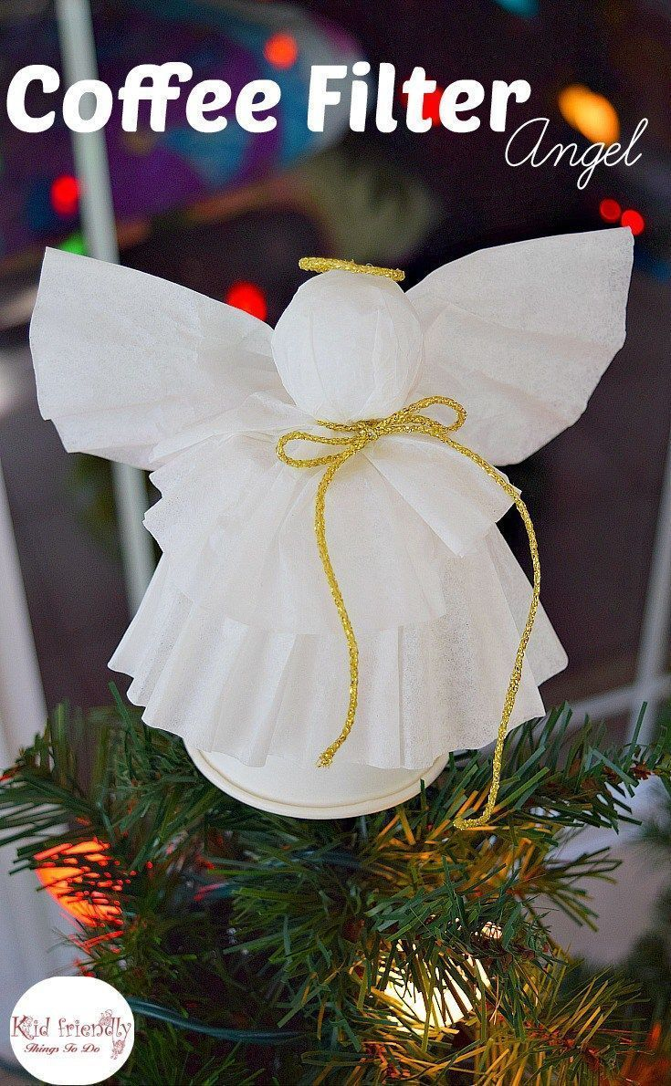 A Simple Coffee Filter Angel Christmas Tree Topper Craft for Kids ...