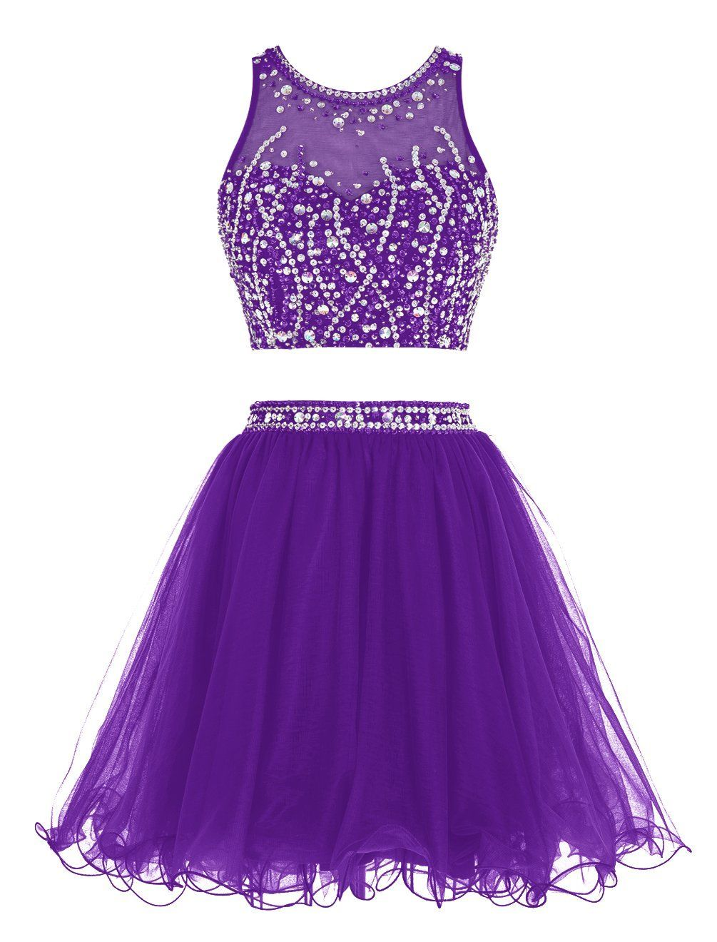 Sexy Short Beading Prom Dress Two Pieces Tulle | Moda | Pinterest ...