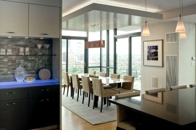 Esszimmer gestalten abgehängte Decke Teppich Küche LED | Living Hall ...