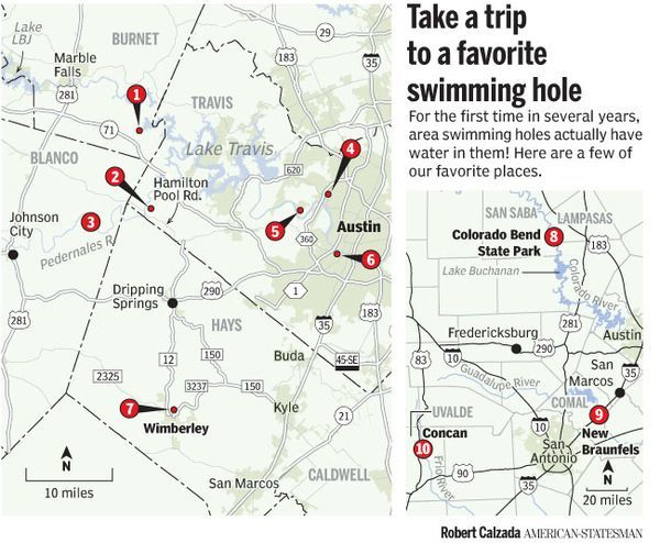 Texas Swimming Holes Map Pit stops for dip spots: Our top 10 Central Texas swimming holes