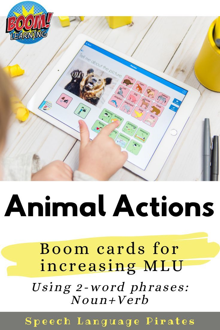 Animal actions boom cards to increase mlu via distance