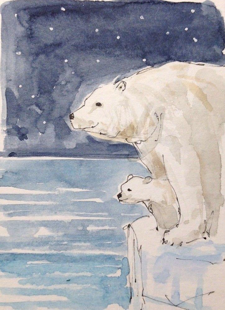 6302ac2da Original Watercolour Painting ACEO -Polar Bear & Cub- by Annabel Burton