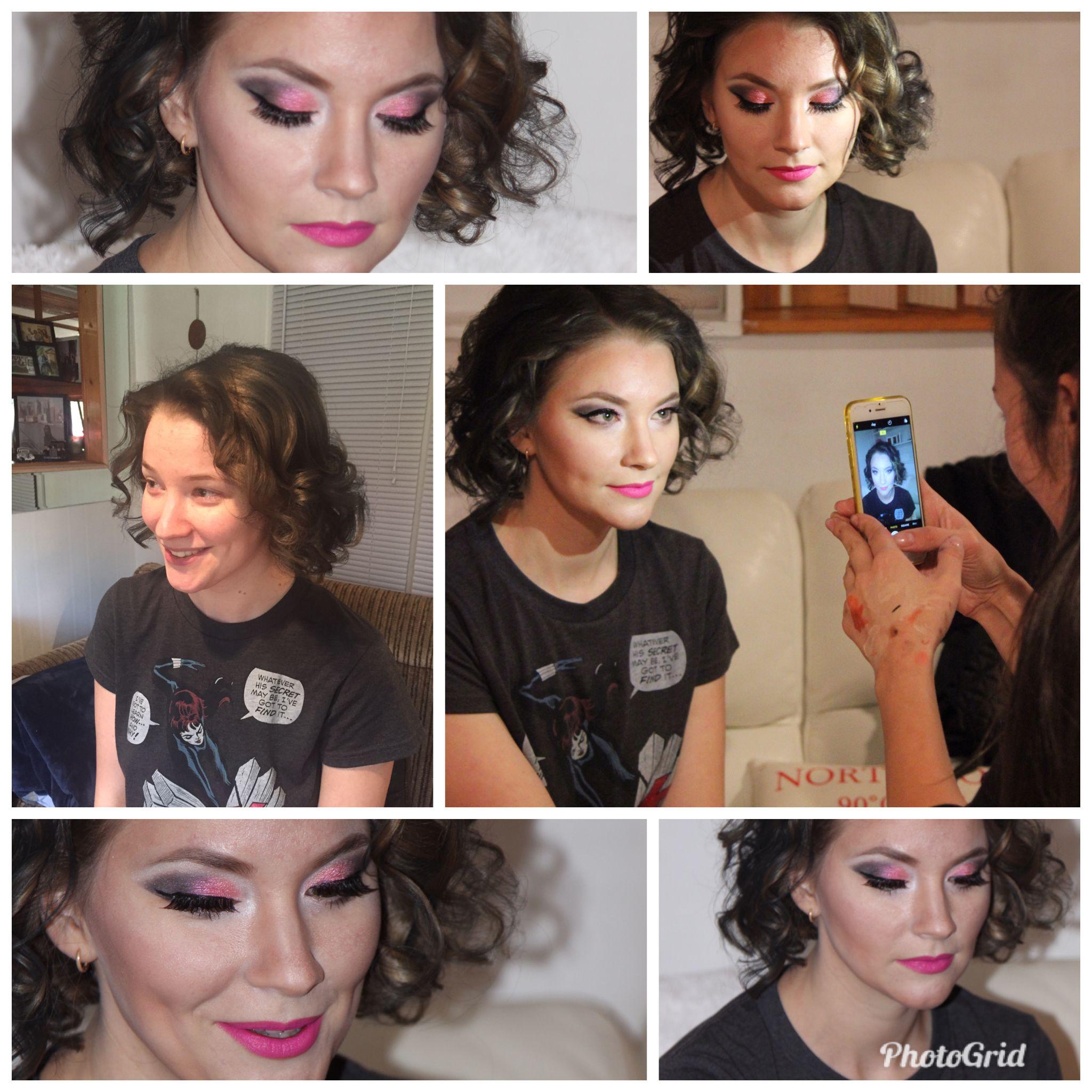 Pink lipstick nice soft curls u ready to go makeup
