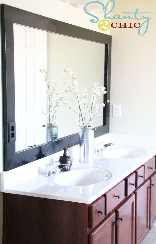 diy cheap and easy bathroom mirror frame bathroom