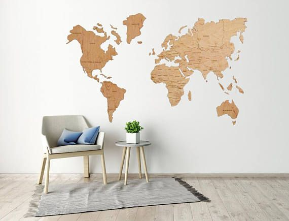 Office wall art travel lover gift wall world map wooden map of the travel lover gift big wooden wall world map etsy gumiabroncs Gallery