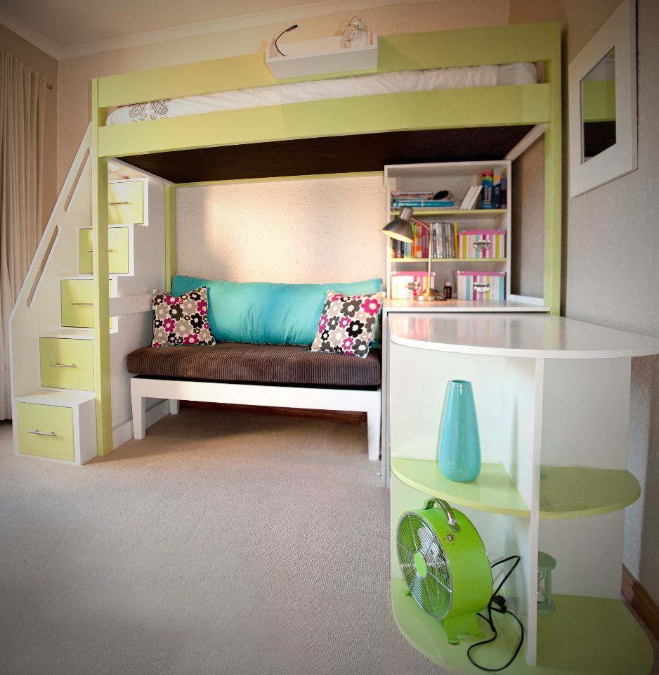 Loft bed with desk pottery barn  Tween Loft bed with pullout desk and sofa by Upsi Daisy Creations