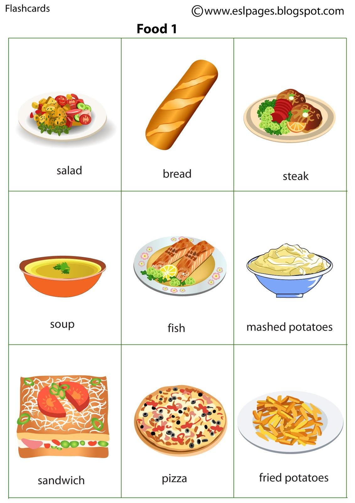 Risultati immagini per food flashcards inglese for Cuisine vocabulary