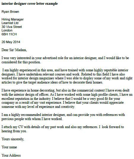 Attractive Interior Designer Cover Letter Example