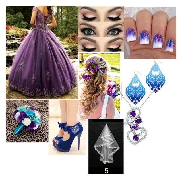 """Blue and Purple Wedding"" by sammieburkeee on Polyvore"