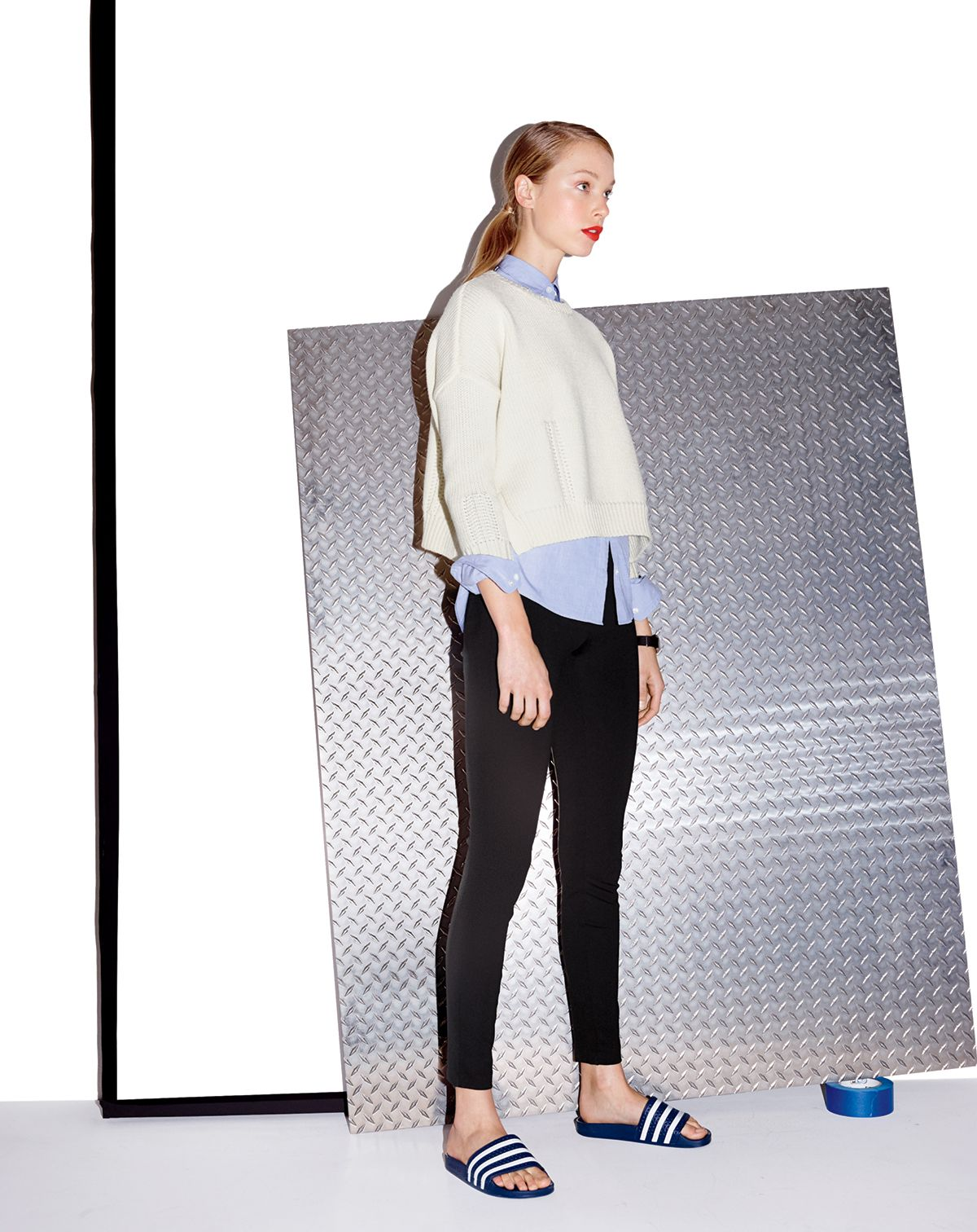 03d819c26 AUG '14 Style Guide: J.Crew women's Demylee™ giselle sweater, Pixie pant  and Adidas adilette slides.