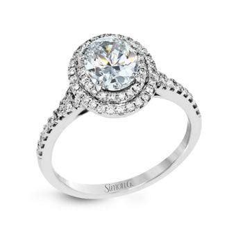 18k White Gold Blue Sapphire Diamond Engagement Ring Setting 3/8 cttw by Simon G.