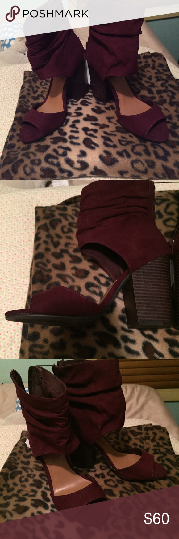 186d590d156 Chunky heel open toe burgundy shoes Very trendy and comfy. Beautiful color  for fall indigo Rd Shoes Heels