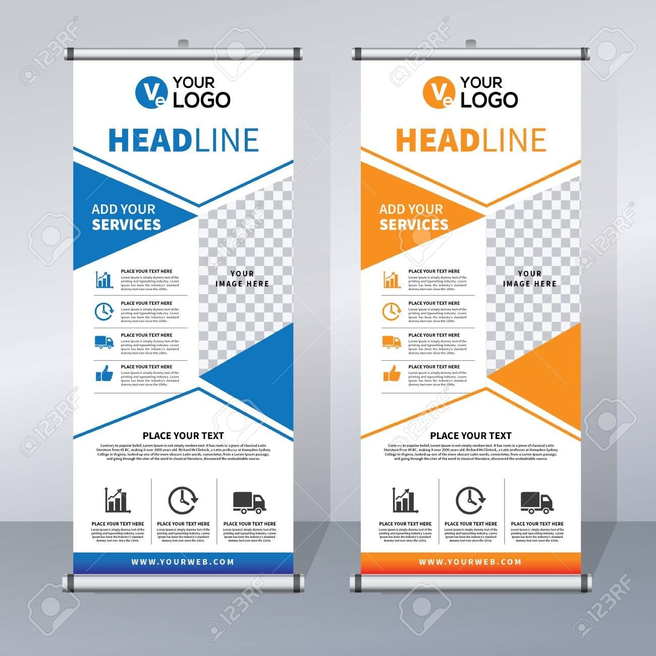 Roll Up Banner Design Template Vertical Abstract Background In College Banner Template Banner Template Design Banner Design Banner Template