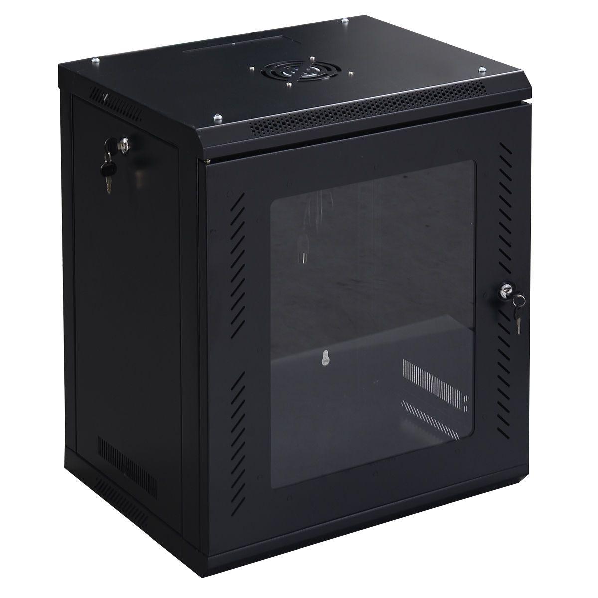 12u Wall Mount Network Server Data Cabinet W Glass Door Data Cabinet Glass Door Glass Door Lock