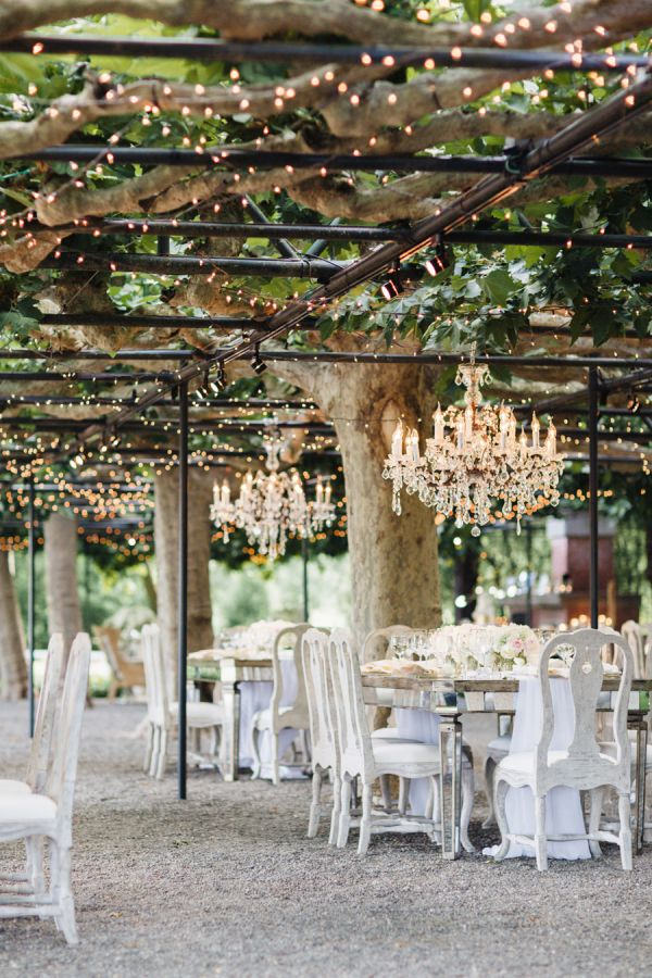 Napa Valley Garden Wedding Decor With Chandeliers And D Lights Http Www