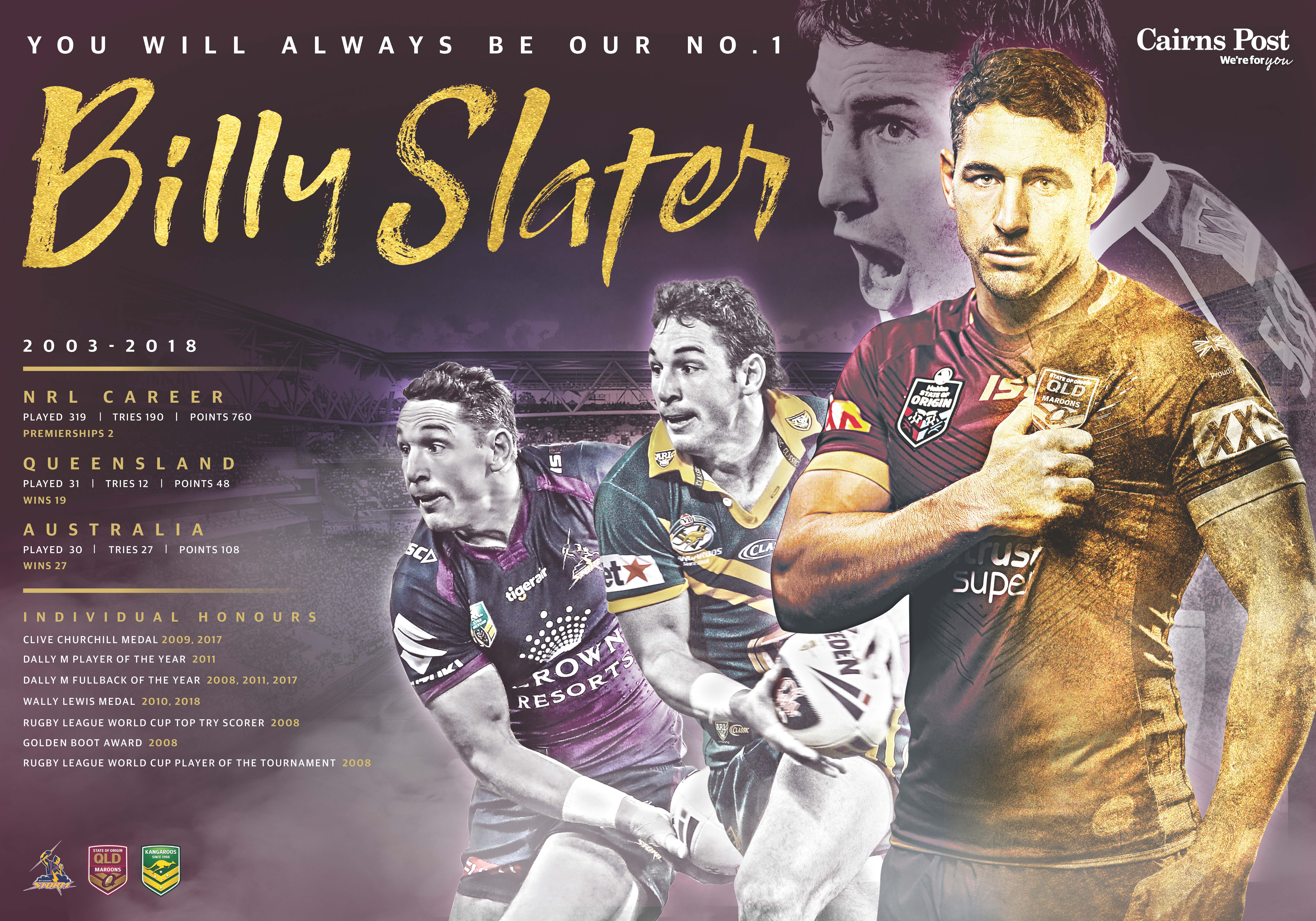 Billy Slater 2018 Nrl Poster Tribute To Billy Slater Congratulations On The Brilliant Career And Thank You For Made The Game Chan Nrl Rugby League Team Photos