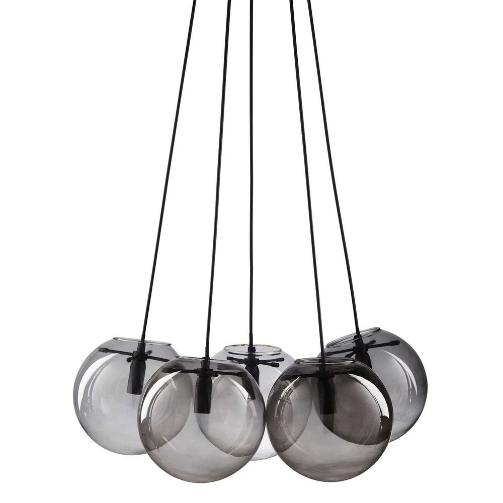 suspension 5 boules en verre fum gris boule en. Black Bedroom Furniture Sets. Home Design Ideas