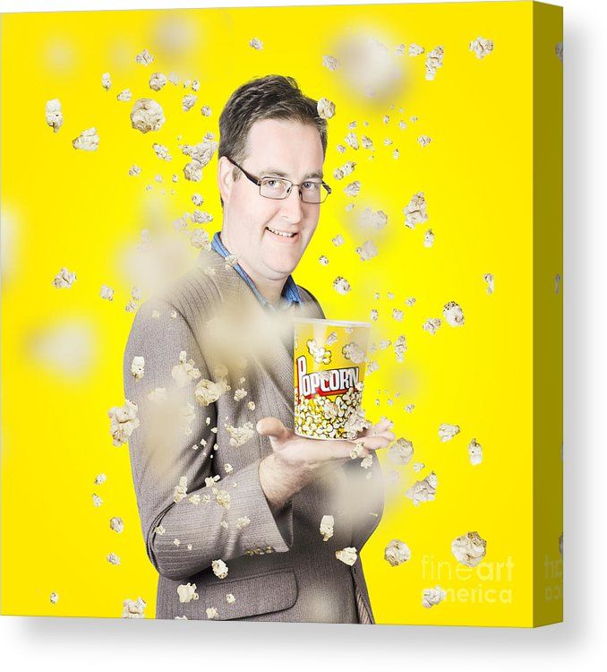 Yellow Popcorn Canvas Print featuring the photograph Movies Man ...