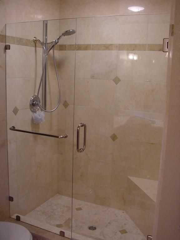 Inline Frameless Shower Door Provided By Super Glass Campbell